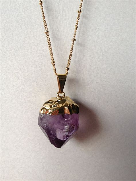 Handmade Birthstone Jewelry - cut amethyst chain necklace handmade