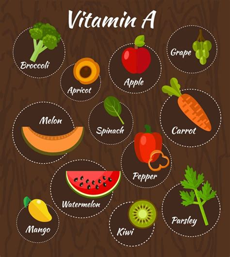 vitamin c vegetables and fruits 11 fruits and vegetables containing vitamin a vector