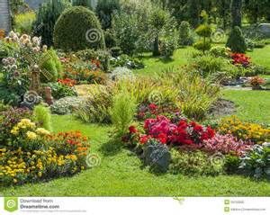 Landscaped flower garden royalty free stock photo image