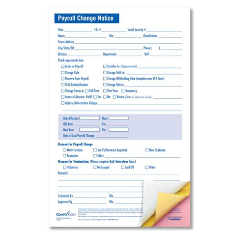 payroll change notice form template payroll change form pdf todaymartli