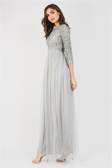 lace beads picasso  sleeved grey embellished maxi