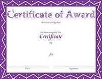 Purple Certificate Template by Award Certificate Templates