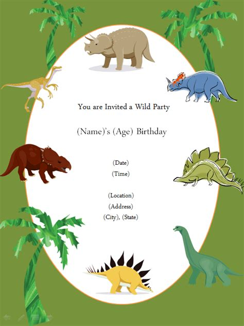 Dinosaur Invitations Template dinosaur birthday invitation template