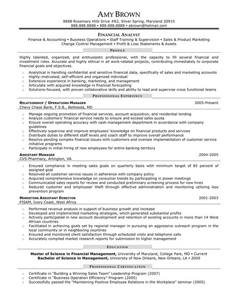 description exles for resume finance management analyst description resumes