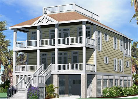 rooftop deck house plans porches cottage roof deck option piling foundation gallery