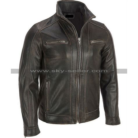 leather cycle jacket faded seam black rivet leather cycle jacket