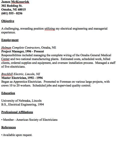exle of master electrician resume http