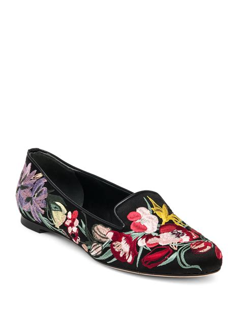 flower shoes black mcqueen floral embroidered silk satin loafers in