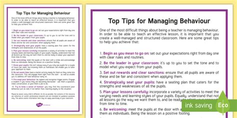 7 top tips for managing information top tips for managing behaviour behaviour management top