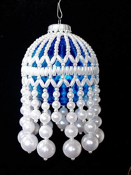 beautiful white faux pearl beaded christmas ball ornament