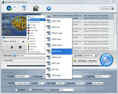 dvd format quality extention mkv