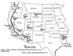 map of western united states with cities war relocation cs in arizona 1942 1946