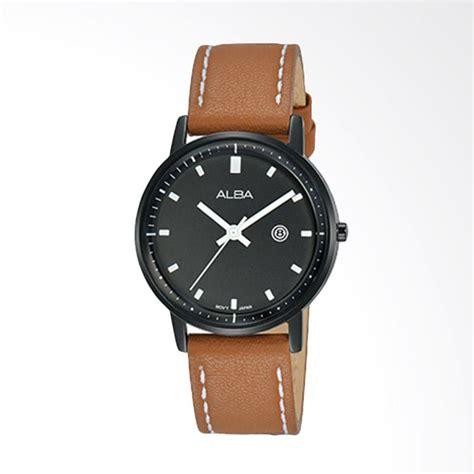 Jam Tangan Cowokcewek Analog Alba Date Rantai Black jual alba ah7p198x1 jam tangan wanita black brown harga kualitas terjamin blibli