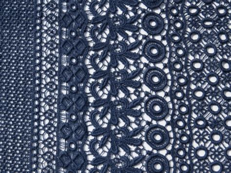 Exc Button Skirt Scuba unexpensive navy blue guipure lace fabric on