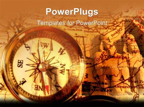 Powerpoint Template An Old Fashioned Compass With Topographic Map Pointing North East South Historical Powerpoint Templates