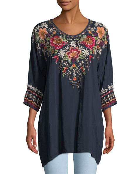 3 4 Sleeve Embroidered Blouse johnny was shaylee 3 4 sleeve embroidered blouse neiman