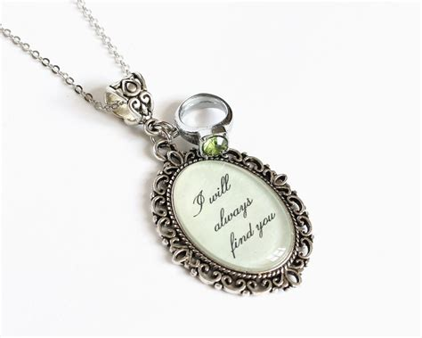i will always find you necklace with green rhinestone ring