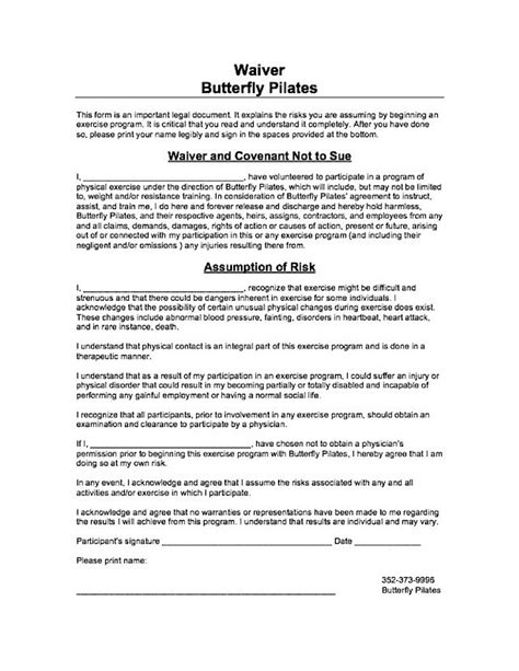 pilates waiver form butterfly pilates