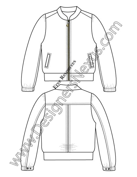 windbreaker jacket fashion flats sketch template
