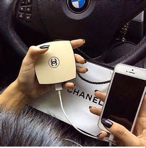 Chanel Portable Compact Mirror Travel Cell Charger Power