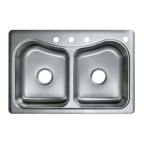 kohler staccato stainless steel kitchen sink kohler staccato drop in stainless steel 33 in 4 hole