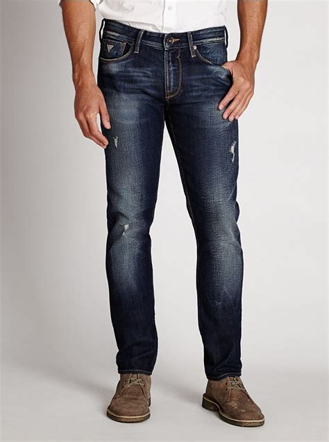 Ripped Channel Navy guess slim tapered in davison destroy wash where to buy how to wear