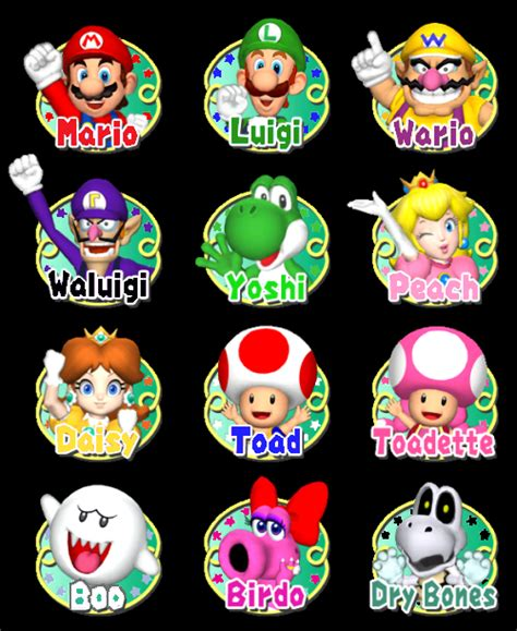 color purple character names mario characters and their colored names by