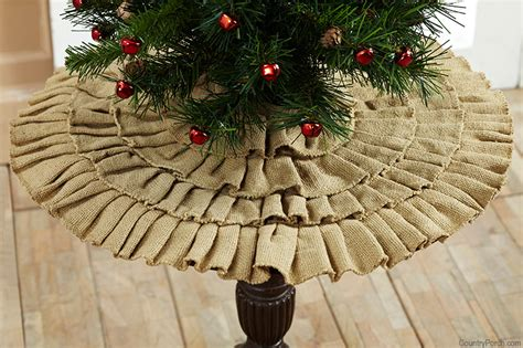 burlap natural ruffled mini christmas tree skirt