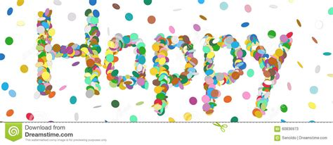Abstract Confetti Word Happy Letter Colorful Panorama