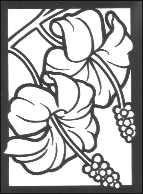 stained glass coloring pages flowers free printable