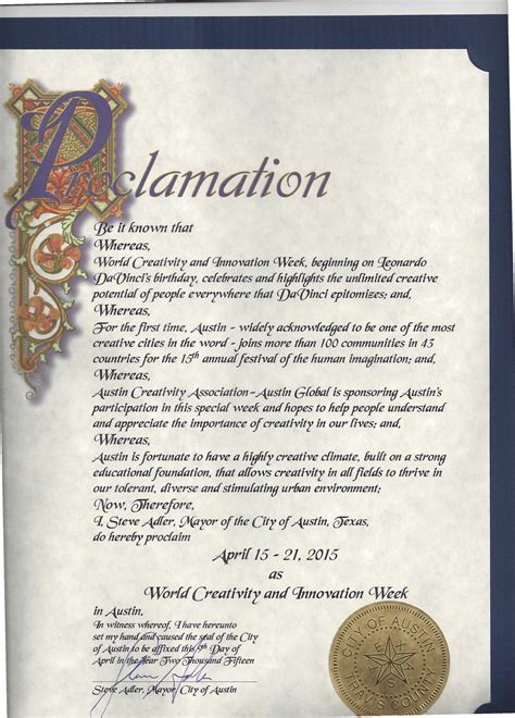 Proclamation Template by Proclamation World Creativity And Innovation Week April