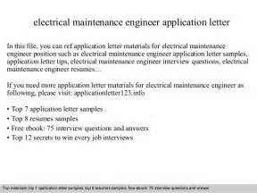 Application Letter For Electrical Engineer Pdf Electrical Maintenance Engineer Application Letter