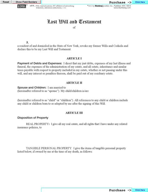 Will Template New York new york last will and testament form for free formxls