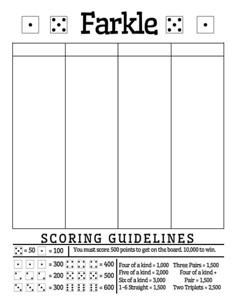 printable rules for farkle dice game free printable farkle score sheet math love free