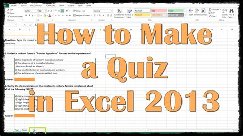 make a test template how to make a quiz in excel 2013