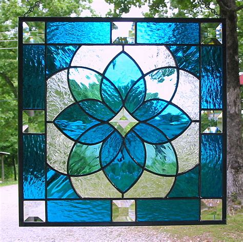 glass designs aqua blue geometric stained glass panel this beautiful