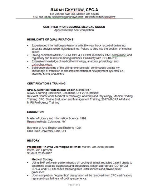 medical coding resume samples some people are trying to get the