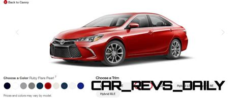 toyota camry 2015 colors 2015 toyota camry colors and trims visual buyers guide