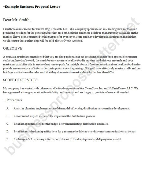 business partnership proposal letter business proposal