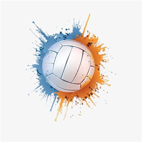 volleyball art color png and psd file for free download