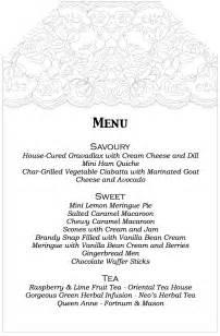 afternoon tea menu template aussie high tea birthday