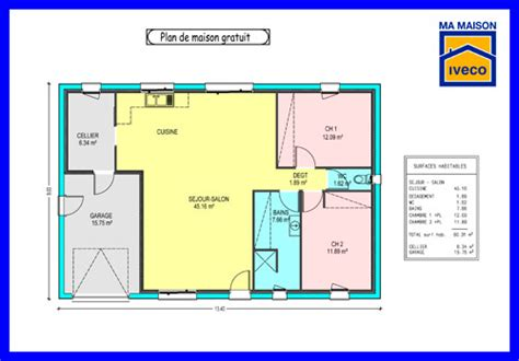 Plan Maison Plein Pied Gratuit 3383 by Plan Maison Plain Pied 70m2 Gratuit