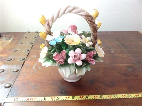 Handmade Ceramic Flowers - handmade ceramic flower basket with intricate ceramic