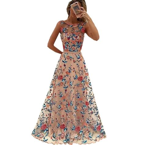 Flowers Embroidery Dress runway floral embroidery flower dress summer mesh