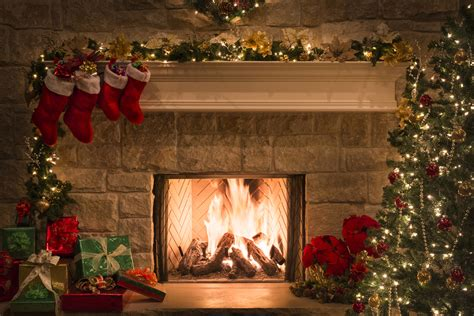christmas fireplace stockings gifts tree copy space