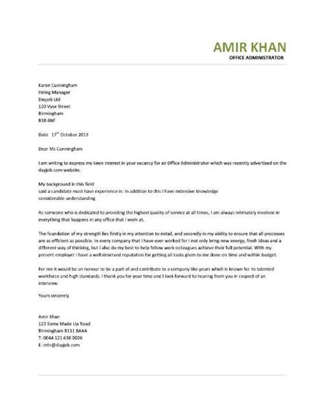 Cover Letter Office Administrator by Office Assistant Cover Letter