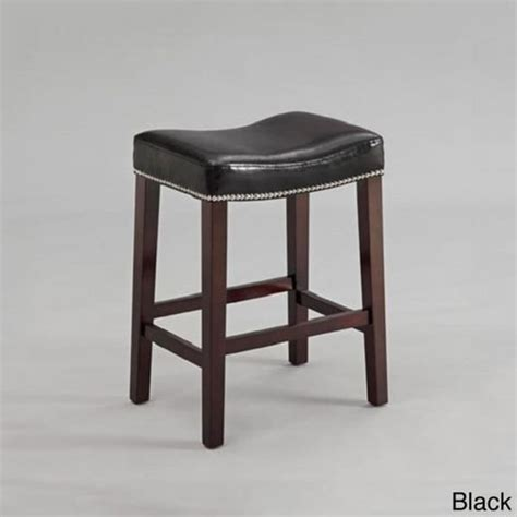 Leather Nailhead Bar Stools | black or red leather nailhead saddle counter height bar
