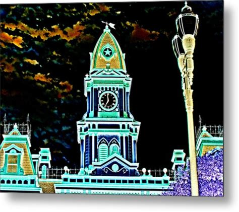 lockhart sheet metal lockhart courthouse clock tower in neon digital by