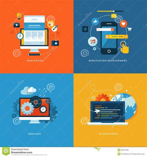 design application novelty set of flat design concept icons for web design stock