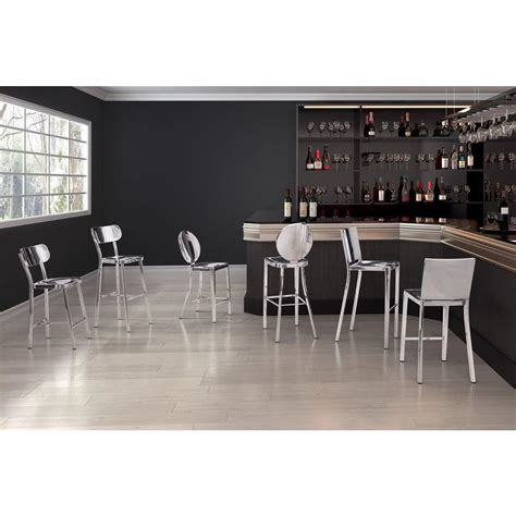 Stainless Steel Bar by Zuo Winter 24 4 In Polished Stainless Steel Bar Stool
